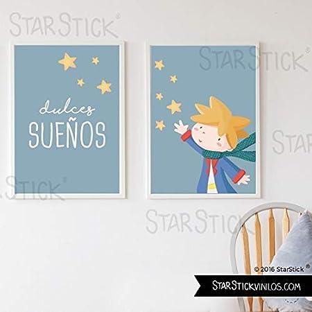 Pack de 2 Láminas decorativas para cuadro infantil y bebé - Dulces sueños + Pequeño príncipe - A4-210 x 297 mm: Amazon.es: Hogar