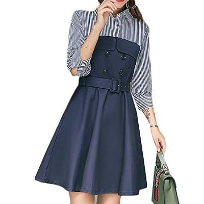XiaoTianXin-women clothes XTX Women's Warm Button Formal Slim Fit Cotton Lapel Patchwork Shirt Flare Dress for sale