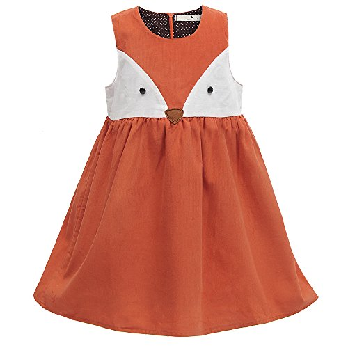 Sweet Girls Fox Dress Spring Fall Corduroy Ruffles Cartoon Cotton Dress (Orange-Ruffles, 3T) for $<!--$14.90-->