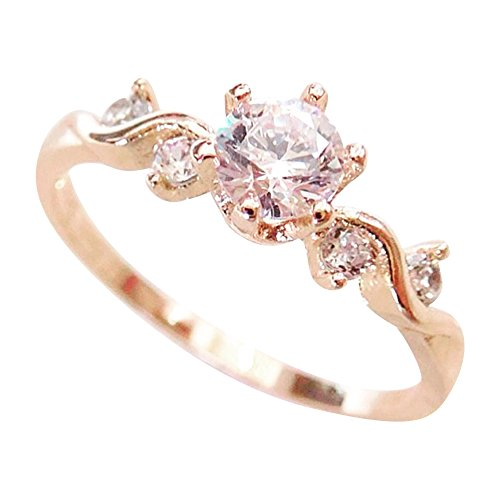 Excelsia 'Sola' 18k Rose Gold-Plated CZ Crystal Elegant Solitaire and Accents Ring, Size ()