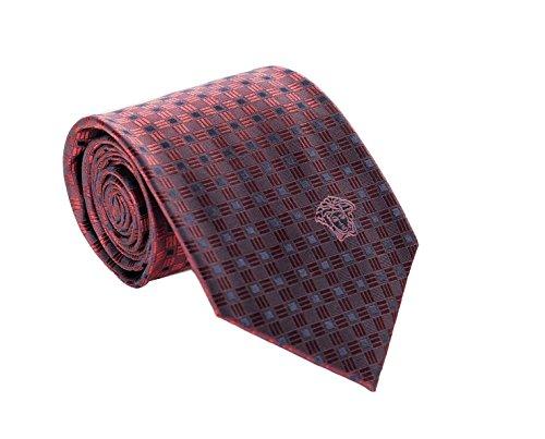 Silk Ties Logo Necktie (Versace Men's Geometrical Square Patterned Silk Necktie Red-Navy)