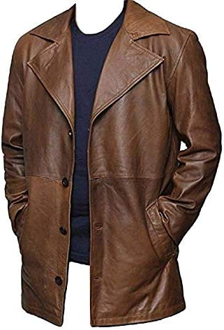 Bestzo Mens Fashion Real Leather Formal Coat Brown