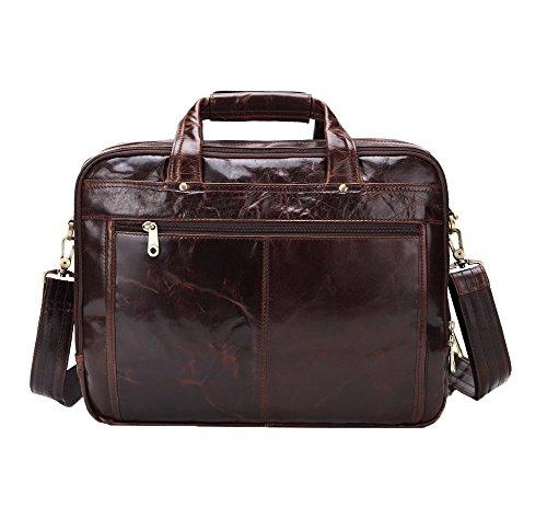 Genda 2Archer Retro Business Laptop Handtasche Leder Aktentasche Schultertasche