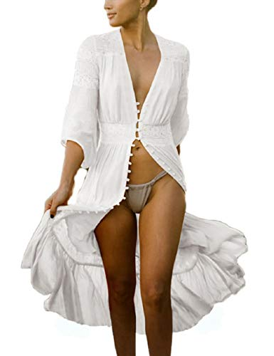 Bsubseach Women Sexy Open Front Lace Beach Kimono Cardigan White 3/4 Sleeve Button Down Long Swimsuit Bikini Cover Up