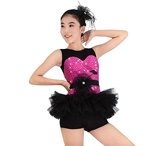 MiDee Jazz Dance Costume Sequins Sweetheart Black Lace Tank Top Biketard 1 Piece 8 Colors (SA, Hot Pink)