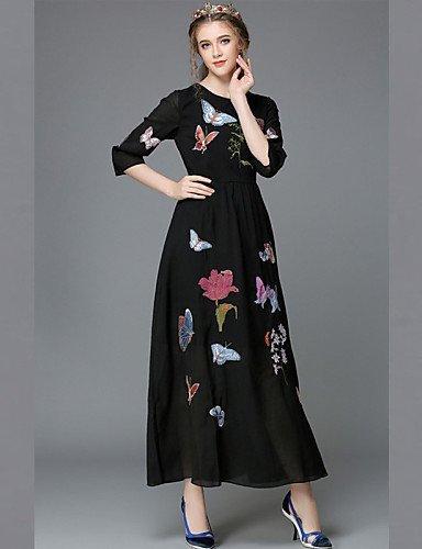 GSP-Damen Kleid - Übergrößen Übergröße / Sexy / Retro / Party / Arbeit / Leger Solide Maxi Polyester Rundhalsausschnitt