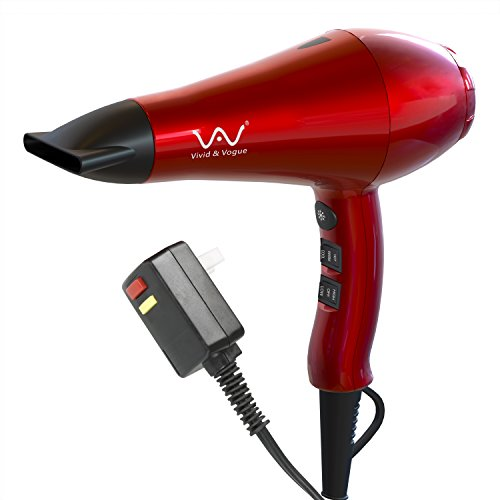 VAV 1875w Powerful Negative Ionic Blow Dryer And Ceramic Professional Hair Dryer 2 Speeds 3 Temperatures Far Infrared Heat Cool Shot Button with Concentrator Red