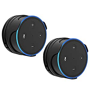 ProCase Removable Wall Mount Stand Holder for Amazon Echo Dot 2nd Generation, Low-Profile Design Without Sound Interference, Space-Saving Bracket for Bathroom Bedroom and Kitchens -Black, 2 Pack