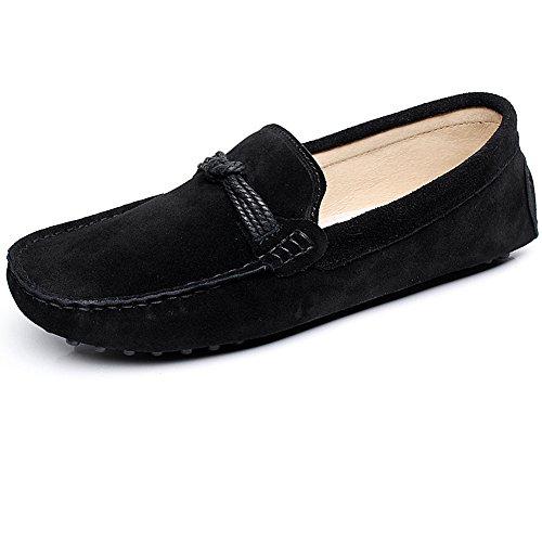 Shenn Mens Comfortable Driving Car Slip On Moccasin Suede Leather Loafer Flats Black JcGlsC