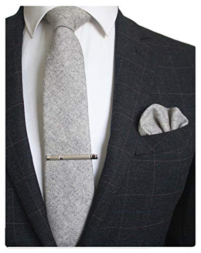 JEMYGINS Gray Cashmere Wool Necktie and Pocket Square, Hankerchief and Tie Clip Sets for Men -