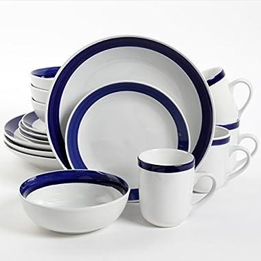Gibson Home Basic Living III 16 Piece Dinnerware Set, Blue