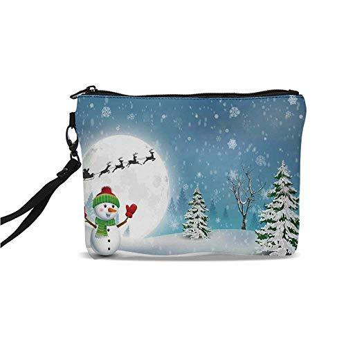 Christmas Decorations Simple Cosmetic Bag,Jolly Snowman under Full Moon Waving to Santa Reindeer Sleigh Kids for Women,9