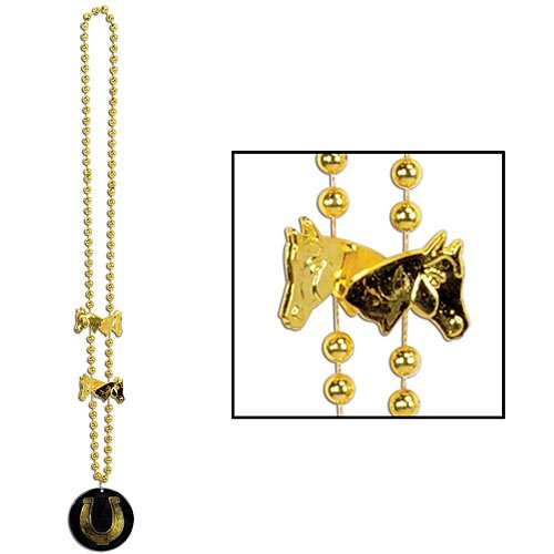 (Beads w/Derby Day Medallion Party Accessory (1 count) (1/Card))