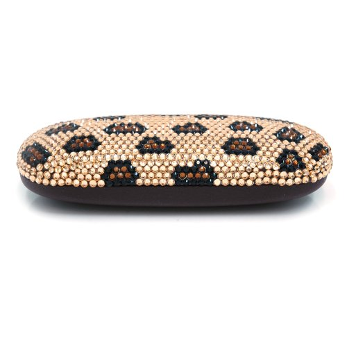 Dasein Leopard Print Rhinestone Embroidered Hard Shell Eyeglasses Case/Sunglasses Case, Bags Central