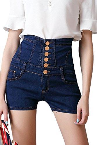 Mujeres Pantalones Cortos De Mezclilla Pantalones Cortos Vaqueros De Cintura Alta con Cordones Sblue