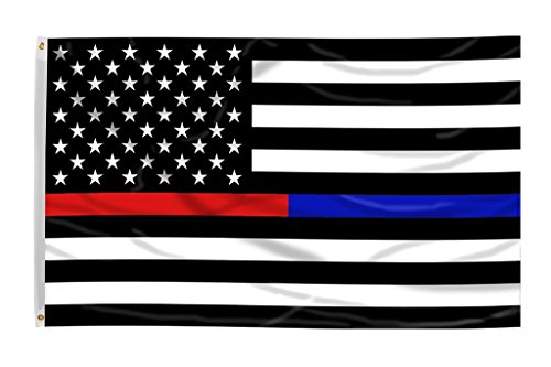 Cheap Time Roaming 3×5 Ft Thin Blue Line Police & Thin Red Line Firefighter Respect and Honor Law Enforcement First Responder USA Polyester Flag with Brass Grommets