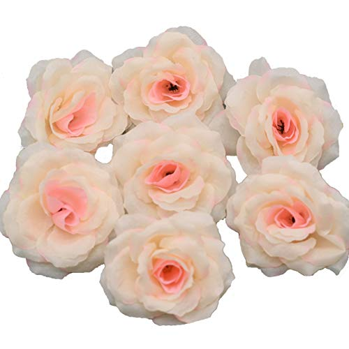 Silk Flowers Wholesale 100 Artificial Silk Rose Heads Bulk Flowers 10cm For Flower Wall Kissing Balls Wedding Supplies (Champagne) ()