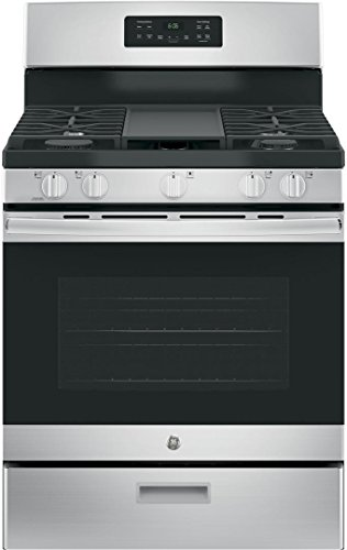 GE JGBS66REKSS 30' Gas Freestanding Range with 5 Burners, Sealed Burner, 5.0 Cu. Ft. Primary Oven Capacity, in Stainless Steel