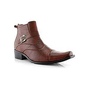 Delli Aldo Men's Ankle High Dress Boots | Buckle Strap | Shoes | Brown 12