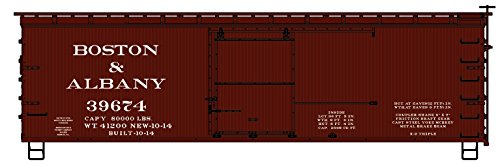 36' Wood (36' Double-Sheathed Wood Boxcar w/Steel Roof, Ends, Fishbelly Underframe - K -- Boston & Albany #39674 (Boxcar Red))