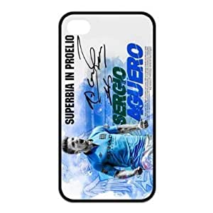 Sergio Aguero iPhone 4 4S Case, DIY and customized Sergio Aguero - Manchester City FC iPhone 4 4S Black Silicone Protective Case Cover in Custom, sports, personalized, cool, fashion phone case