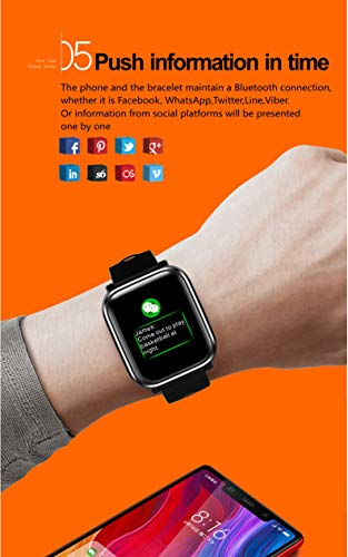 Bluetooth Smart Watch:All-Day Heart Rate and Activity Tracking, Sleep Monitoring, GPS, Ultra-Long Battery Life, Bluetooth, (Black-Blue) by FOKECCI (Image #5)