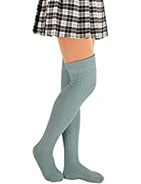 8b78435ebcf Womens Spring Sexy Over Knee Thigh High Stocks Boot long Striped Stockings  Cotton Leg Warmers Girls