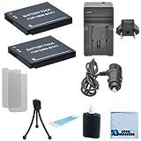 2 DMW-BCK7 Batteries for Panasonic Lumix DMC-SZ02, DMC-SZ1, DMC-SZ5, DMC-SZ7, DMC-TS20, DMC-TS25, DMW-BCK7PP, DMW-BCK7E, NCA-YN101G Camera, Charger & eCostConnection Complete Starter Kit