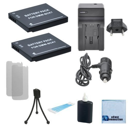 2 DMW-BCK7 Batteries for Panasonic Lumix DMC-SZ02, DMC-SZ1, DMC-SZ5, DMC-SZ7, DMC-TS20, DMC-TS25, DMW-BCK7PP, DMW-BCK7E, NCA-YN101G Camera, Charger & eCostConnection Complete Starter Kit