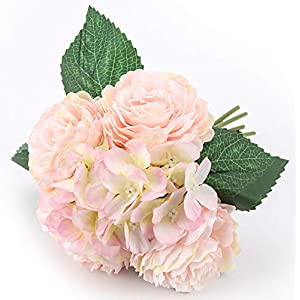 Blooming Paradise Artificial Flowers 2Pack Peony Fake Floral Centerpices Home Kitchen Office Wedding Decor Beautiful DIY Floral Arrangements, 4 Flower Heads 3 Petals Each Pink 120