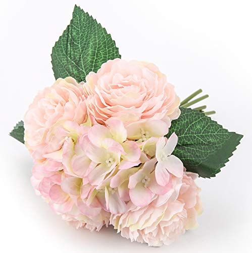 Blooming Paradise Artificial Flowers 2Pack Peony Fake Floral Centerpices Home Kitchen Office Wedding Decor Beautiful DIY Floral Arrangements, 4 Flower Heads 3 Petals Each Pink