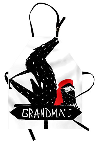 Lunarable Red and Black Apron, Cartoon Girl Cape and Sketchy Evil Wolf Fairytale Kid Design, Unisex Kitchen Bib Apron with Adjustable Neck for Cooking Baking Gardening, Charcoal Grey and -