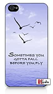 Sometimes You Gotta Fall Before You Fly Quote Blue Sky, Birds, Ocean Iphone 4 Quality TPU Soft Rubber Case for Iphone 4 - AT&T Sprint Verizon - White Case