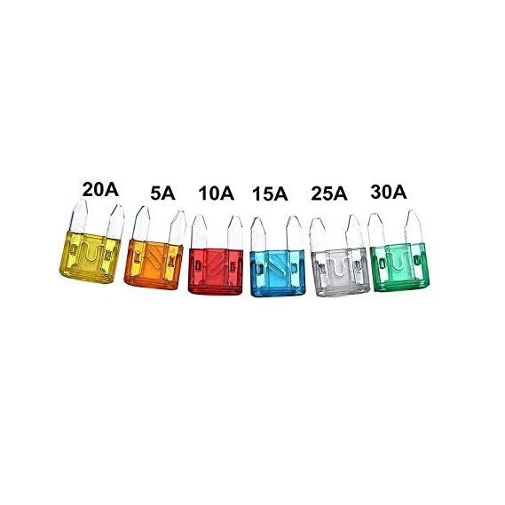 AUTO-EX Car Mini Blade Fuse Small Fuses [5,10,15,20,25,30 Amp] (Set of 12)