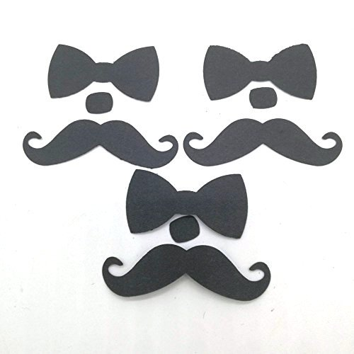 Cards Shower Baby Scrapbooking - Hemarty Mustache and Bow tie Table Confetti 50 CT- Die Cut- Cutout- Birthday- Baby Shower-Scrapbooking-Card Making