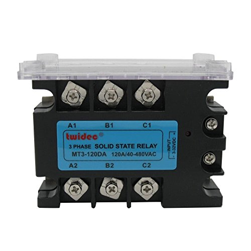 (twidec/Temperature Control Three 3 Phase Solid State Relay 120DA SSR Relay 3-32VDC to 30-480V AC SR Relay Solid State Three Phase dc to ac Rele)