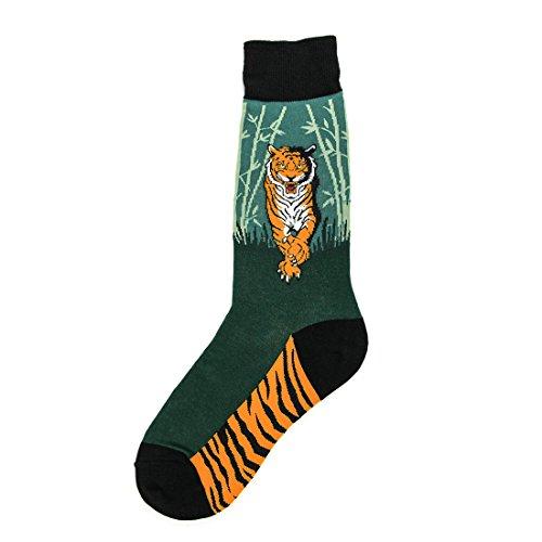 Foot Traffic - Men's Animal-Themed Socks, Tiger (Men's Shoe Sizes 7-12) -