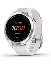 """Garmin Approach S42, GPS Golf Smartwatch, Lightweight with 1.2"""" Touchscreen, 42k+ Preloaded Courses, Silver Ceramic Bezel and White Silicone Band, 010-02572-11"""
