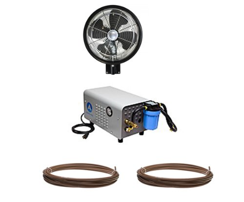 18'' HIGH PRESSURE  Oscillating (1) Misting Fan (Wall Mount) Enclosed Pump and Tubing Misting Kit by Advanced Systems