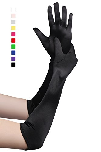 Dance Costumes And Gloves (BABEYOND Classic Long Opera Pageant Party 1920s Satin Gloves Stretchy Adult Size Elbow Wrist Length 20.5