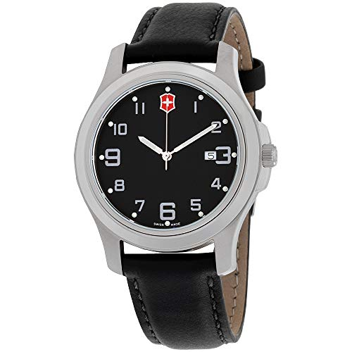 Victorinox Garrison Elegance Black Dial Leather Strap Men's Watch 26052CB - Mens Elegance Black Dial
