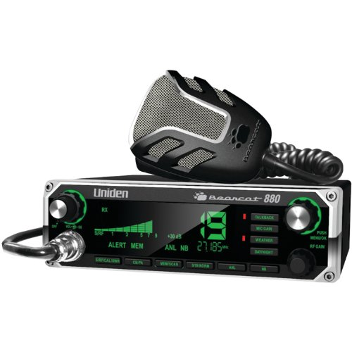 Uniden BEARCAT 880 CB Radio with 40 Channels and Large Easy-to-Read 7-Color LCD Display with Backlighting, Backlit Control Knobs/Buttons, NOAA Weather Alert, PA/CB Switch, and Wireless Mic Compatible,