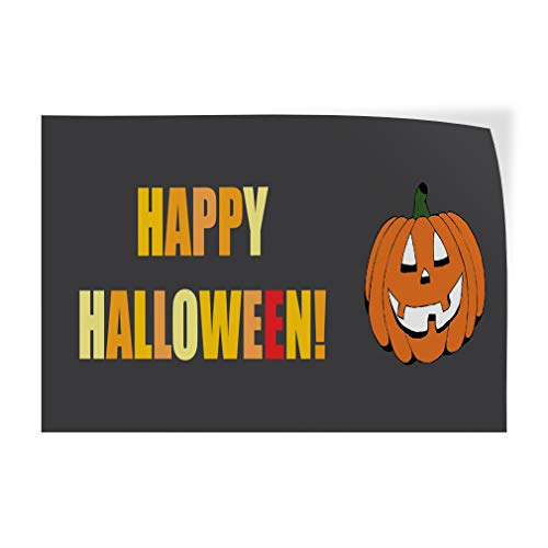 Decal Sticker Multiple Sizes Happy Halloween! Holidays and Occasions Happy Halloween Outdoor Store Sign Orange - 30inx20in, Set of 5 for $<!--$139.46-->