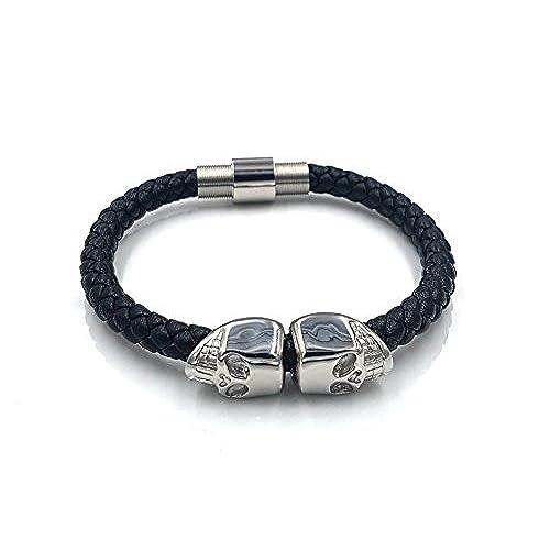 6641cc6dc075 Calavera Pulsera de plata negro piel cierre magnético acero inoxidable  calavera piel genuine Leather 19 cm