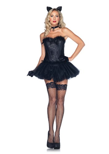 Corset Costumes Cute (Leg Avenue Women's 5 Piece Black Cat Babe Costume, Black,)