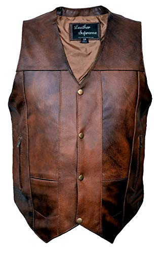Leather Supreme Men's Ten Pocket Concealed Carry Retro Brown Buffalo Hide Leather Vest with Removable Holster-Brown-48