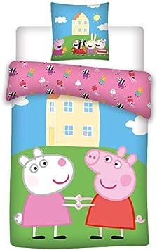 Peppa Pig - Juego de cama para bebé, funda nórdica de 100 x 135 cm y funda de almohada de 40 x 60 cm