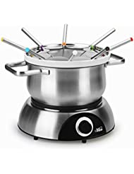 Artestia Electric Chocolate & Cheese Fondue Set with Two Pots, Serve 8 persons (Stainless Steel/Ceramic Pots, Stainless Steel Base)