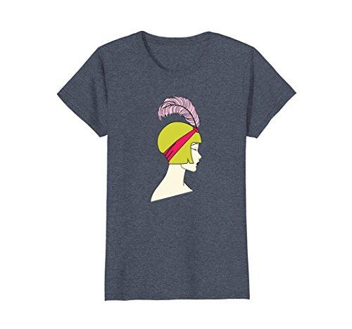 Womens Flapper - Art Deco Girl Artsy Roaring Twenties T-Shirt Medium Heather (Roaring Twenties Women's Fashion)