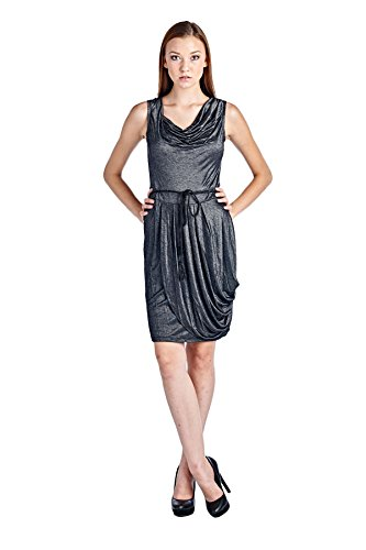 8f4eb79245997b Marcelle Margaux Cowl Neck Dress with Waist Tie Large Silver 10